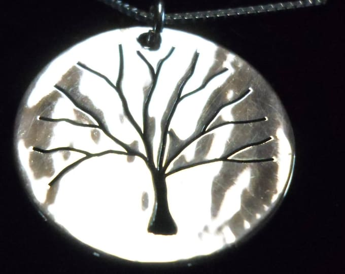 Tree of life necklace half dollar size solid back w/sterling silver chain