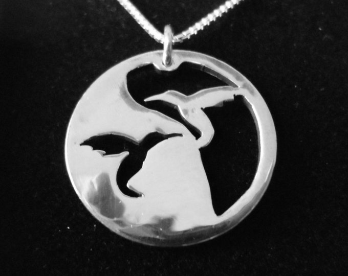 Reflection hummingbird necklace  w/sterling silver chain hand pierced original by mountain man