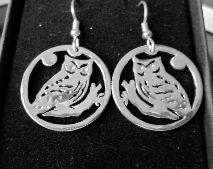 Owl earrings quarter size