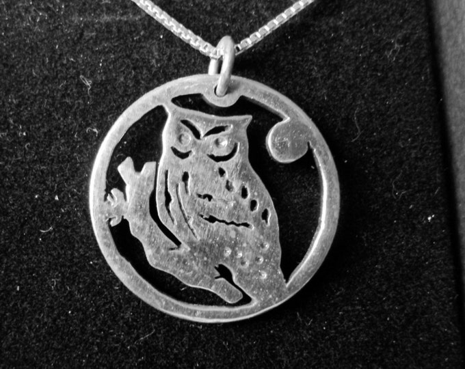 Owl necklace quarter size w/sterling silver chain