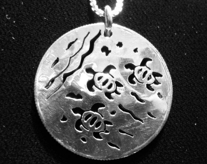 Sea Turtle Half Dollar w/ sterling silver chain