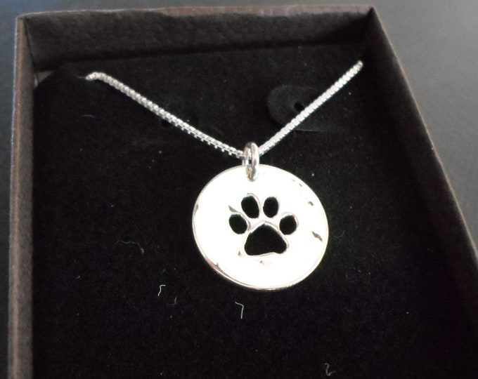Dog paw necklace  w/sterling silver chain Hand pierced original by Mountain man