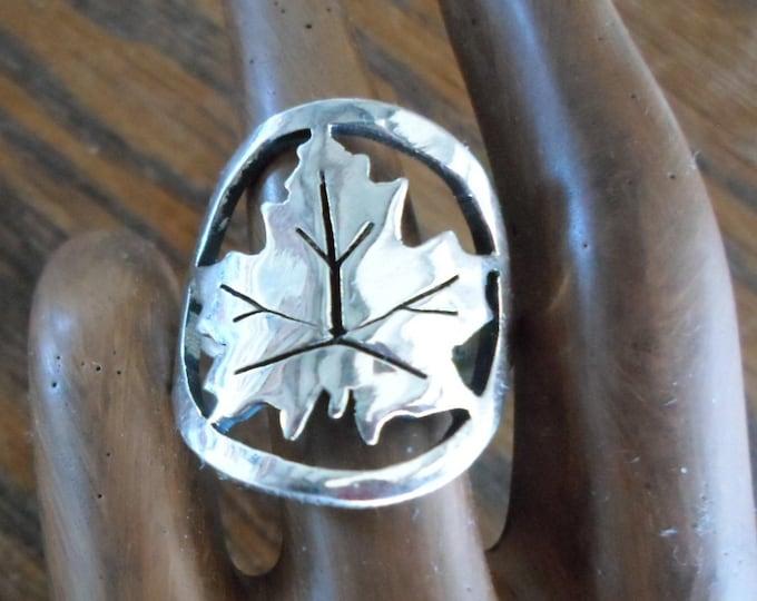 Maple Leaf ring quarter size