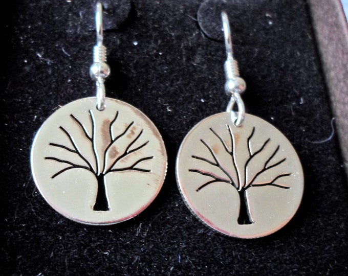 Tree of Life earrings hand pierced originals sterling silver by Mountain man