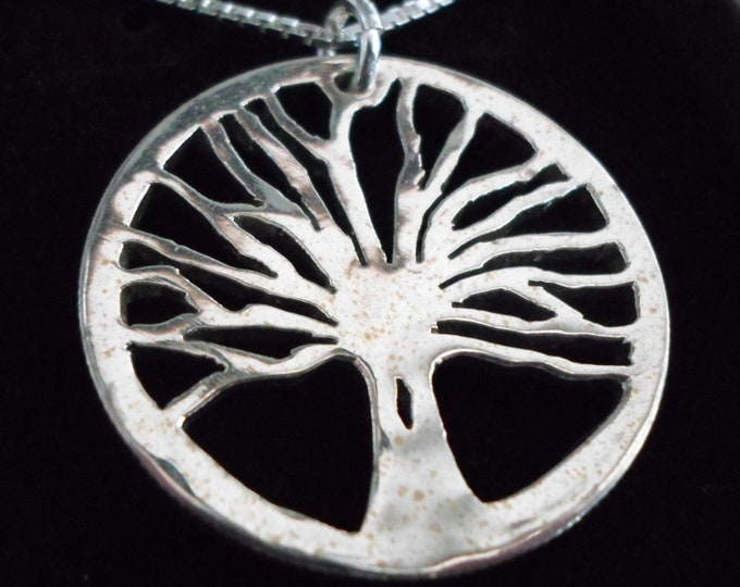 Tree of life necklace half dollar size w/sterling silver chain