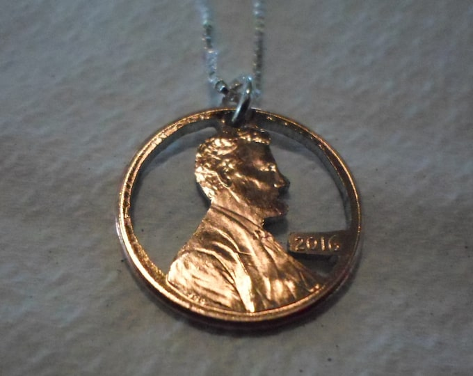 Birth Year Penny  any year 2018 thru 1950 w/sterling silver chain