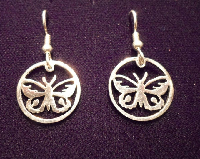 butterfly earrings sterling silver hand pierced original by Mountain man