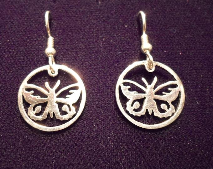 butterfly earrings sterling silver hand pierced original by Mountain man