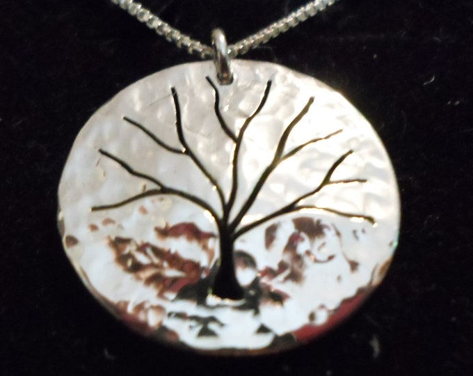 tree of life necklace quarter size hammered w/sterling silver chain