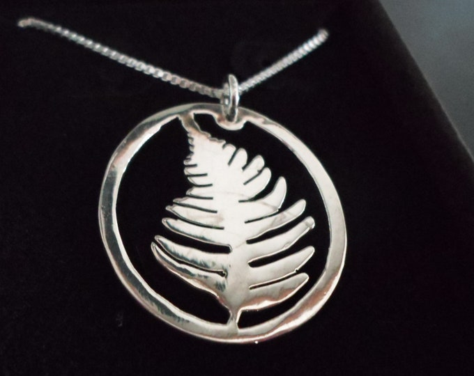 Fern necklace quarter size w/sterling silver chain