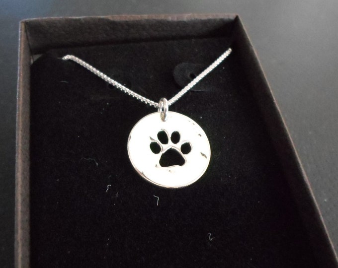 Dog paw necklace dime size w/sterling silver chain
