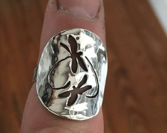 Dragon fly ring sterling silver quarter size by mountain man