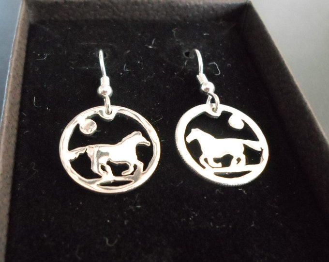 Horse earrings dime size
