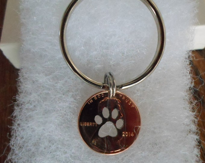 Dog paw penny key ring w/any date 2018 thru 1950