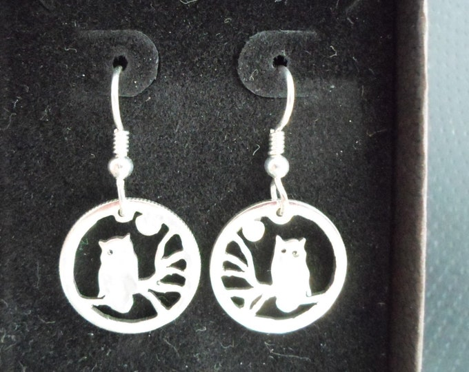 Owl earrings dime size