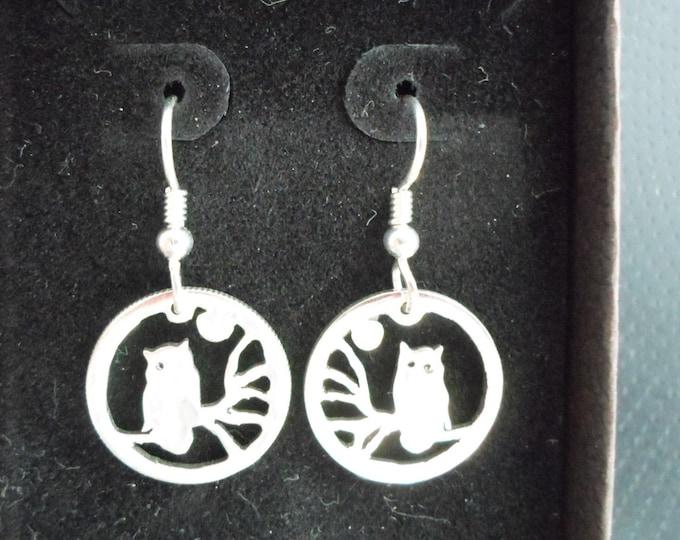 Owl earrings dime size