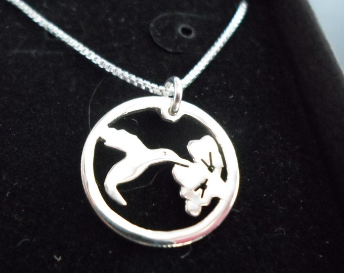 Humming bird necklace hand pierced original w/sterling silver chain by Mountain man