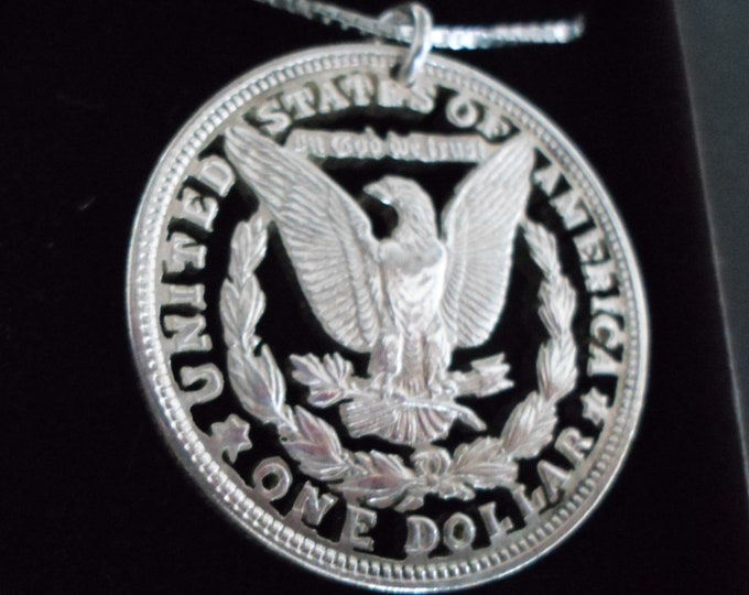 Eagle silver dollar w/sterling silver chain