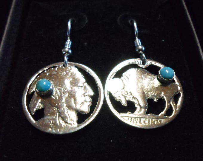 Indian head and buffalo nickel earrings w/turquoise