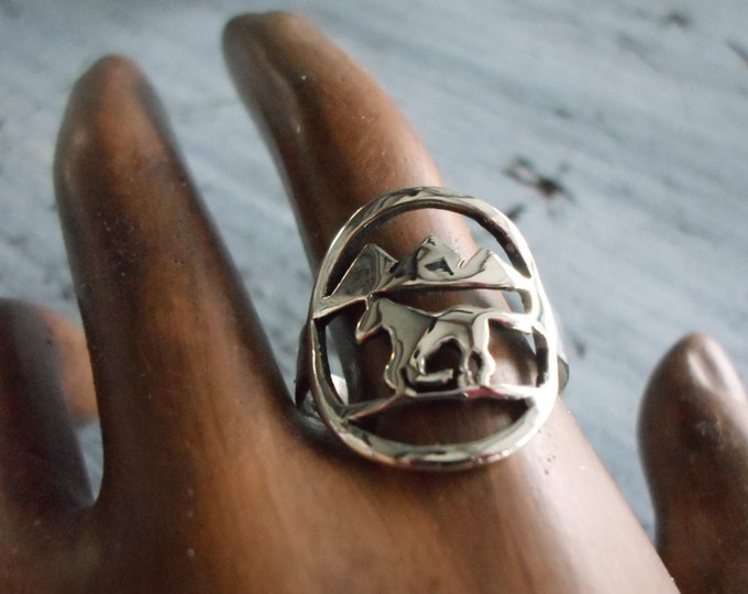 horse w/mountains ring dime size