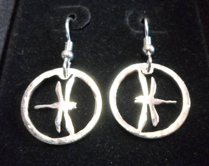 Dragonfly earrings dime size