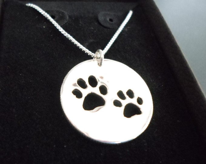 "dog paws quarter size necklace with 18"" sterling silver box chain"
