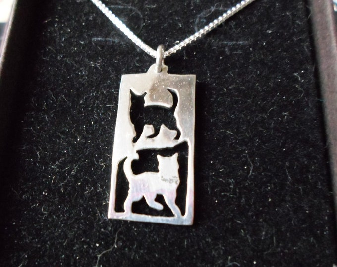 Rectangle reflection cat necklace quarter size w/sterling silver chain