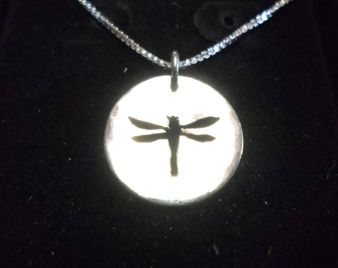Dragonfly Necklace dime size w/sterling silver chain