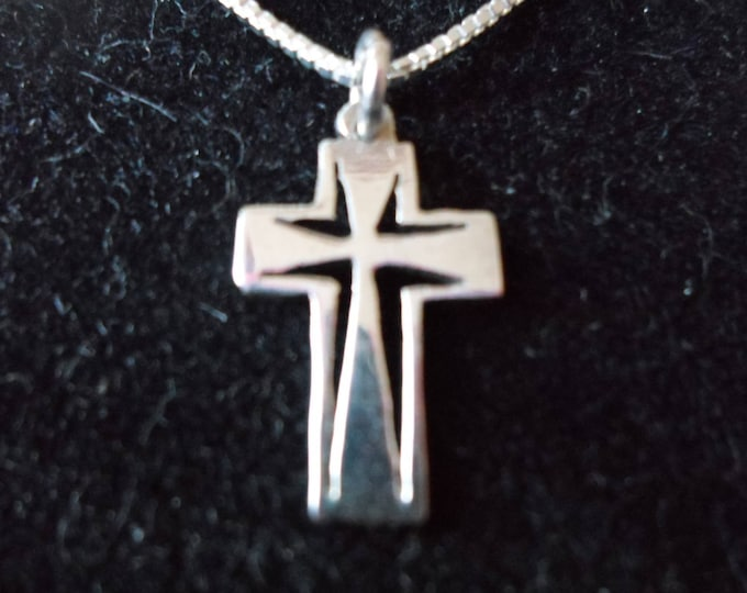Cross quarter size w/sterling silver chain