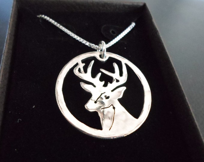 Buck head necklace quarter size w/sterling silver chain