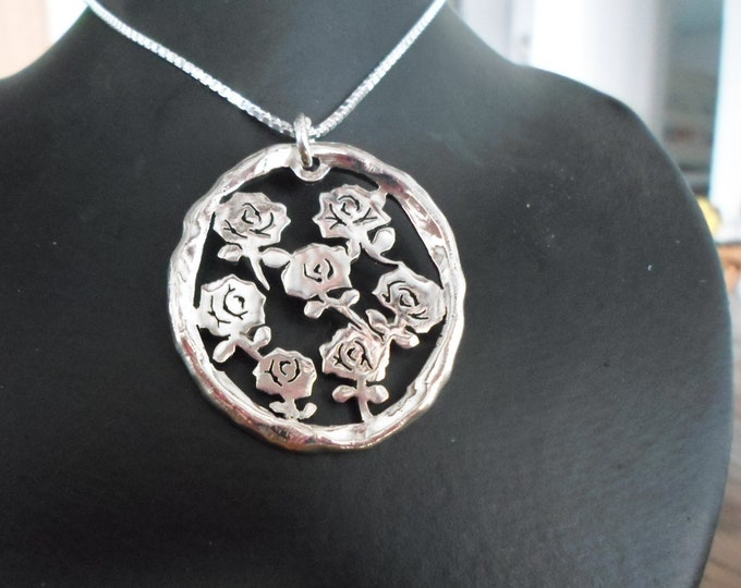 Large melted explosion of roses w/sterling silver chain