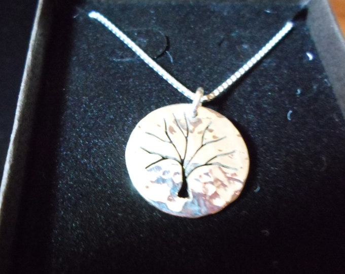 Tree of life necklace dime size hammered w/sterling silver chain