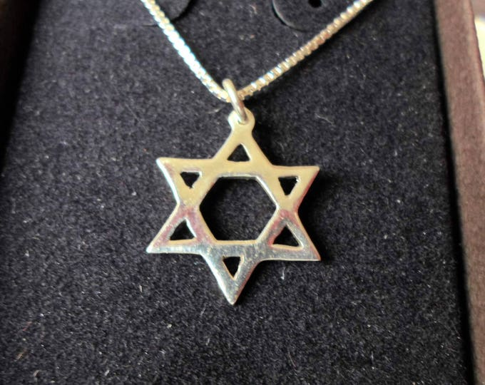 Star of David necklace dime size w/ sterling silver chain