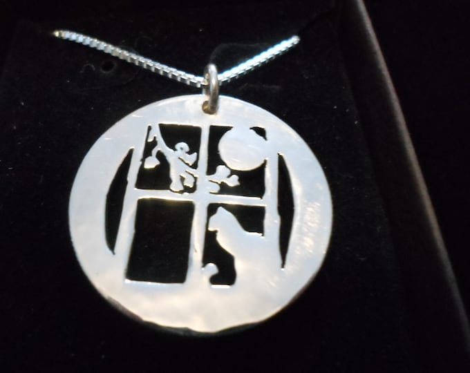 Cat in window half dollar necklace w/sterling silver chain