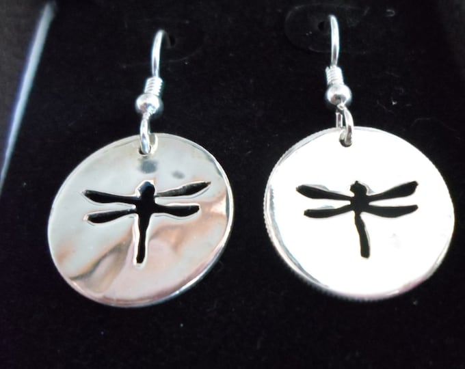 Dragonfly earrings sterling silver hand pierced original by Mountain man
