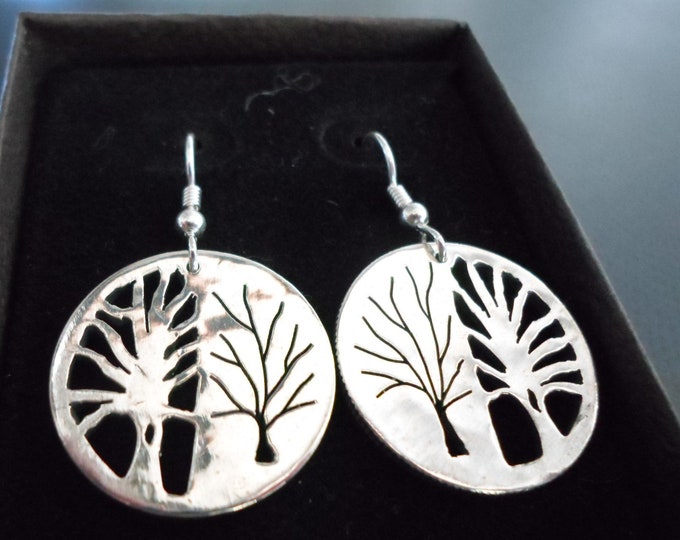 Tree of life earrings quarter size