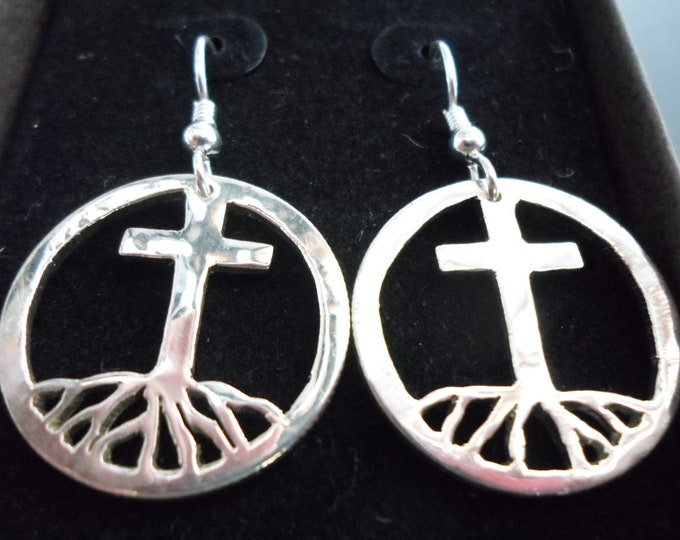 Cross with roots earrings quarter size