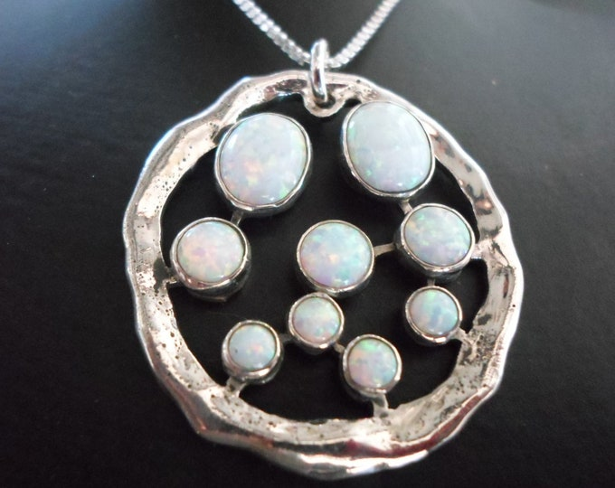 Explosion of created opals necklace large w/sterling silver chain