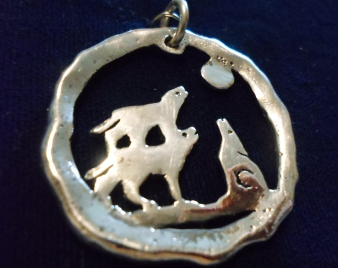 large 3 wolves melted half dollar w/sterling silver chain