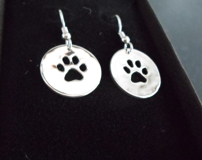 dog paw  earrings sterling silver hand pierced original by Mountain man