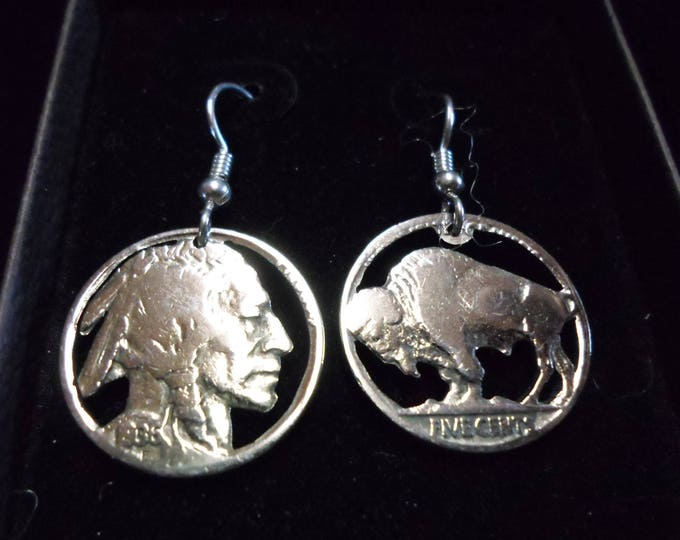Indian head and buffalo nickel earrings