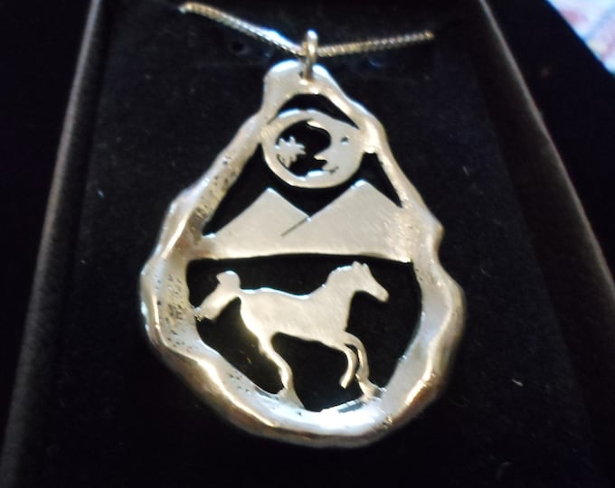 Large Melted horse w/ moon and star necklace w/ sterling silver chain