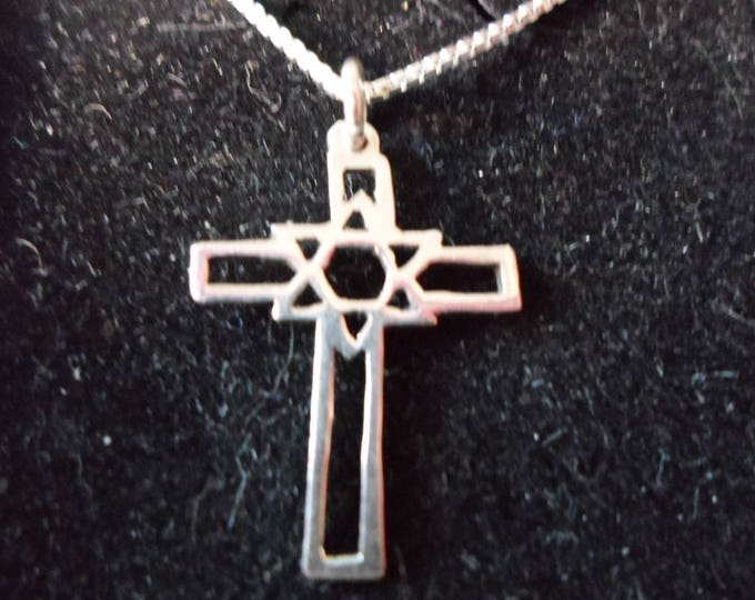 Cross with Star of David necklace W/sterling chain