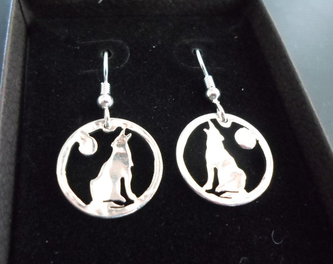 wolf earrings dime size