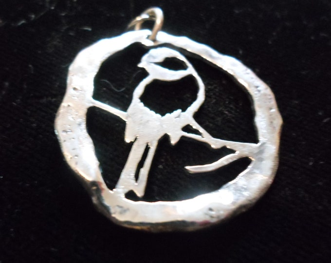 large melted chickadee necklace w/sterling silver