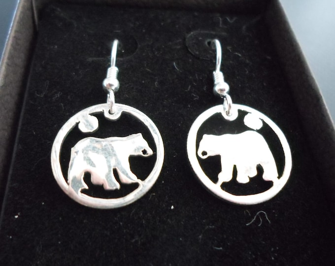 Bear earrings dime size
