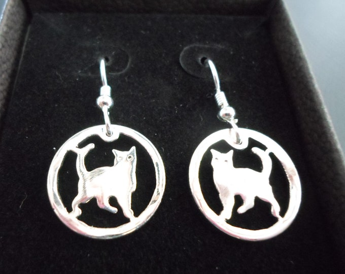 Cat earrings dime size