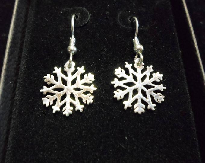 Snowflake earrings hand pierced original sterling silver by Mountain man
