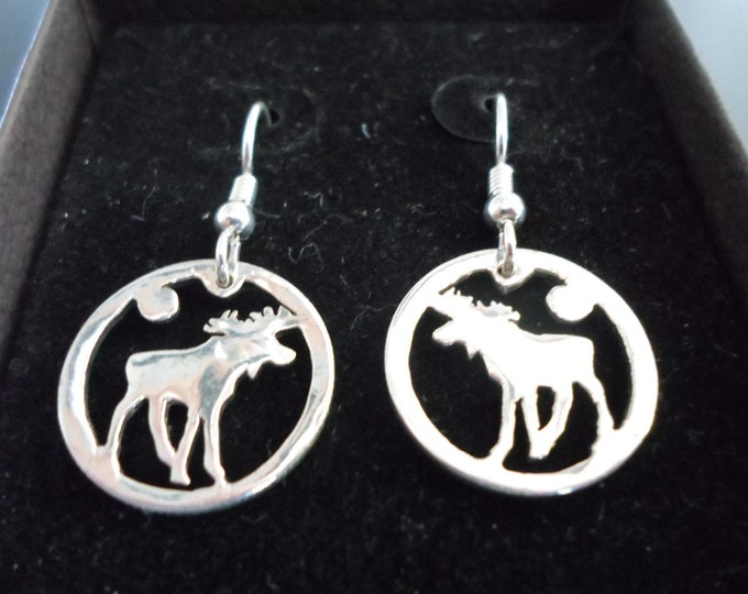 Moose earrings dime size