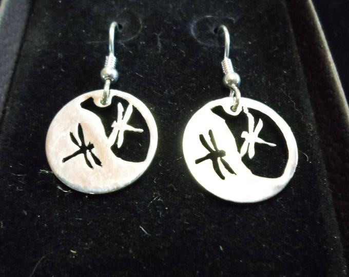 Reflection dragonfly earrings dime size